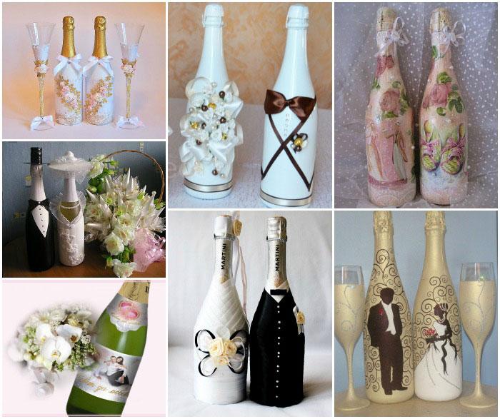 Украсить бутылку на свадьбу своими руками из лент