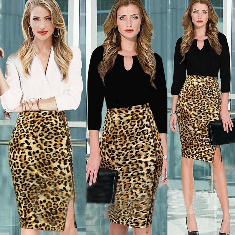 Леопардовая юбка-карандаш
