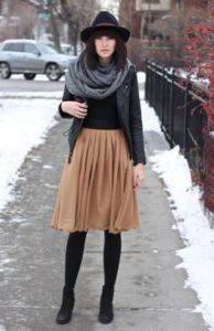 с чем носить юбку-солнце зимой