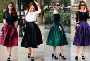 С чем носить юбку-солнце миди?