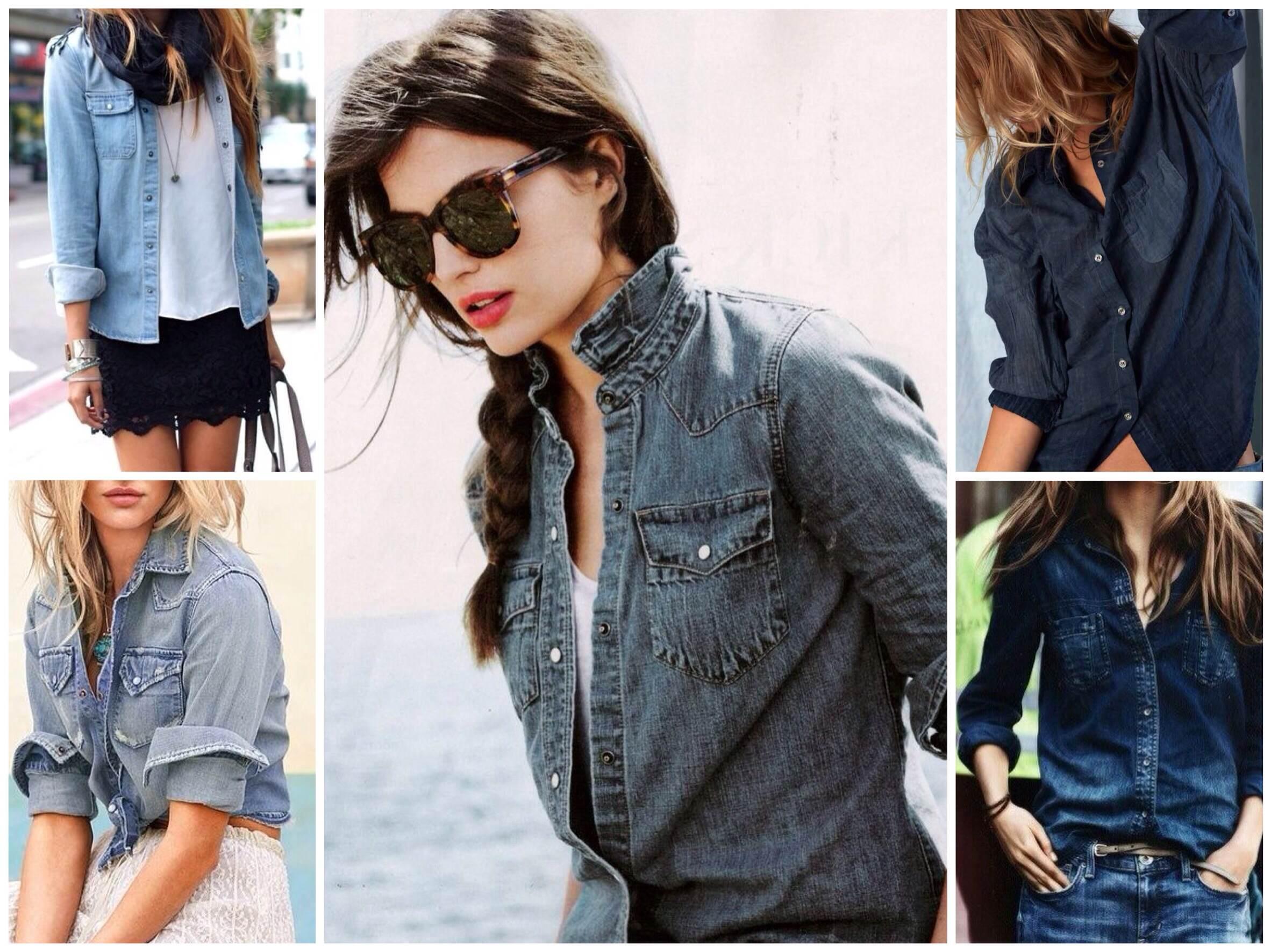 С чем носить женскую джинсовую рубашку?