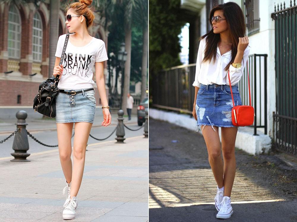 Кеды и мини-юбка