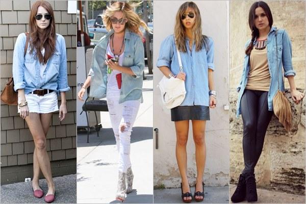 Варианты комбинирования джинсовой рубашки