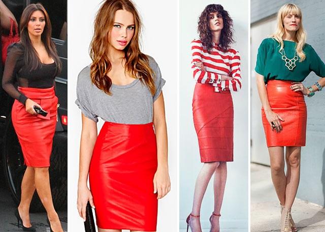 Красная кожаная юбка.