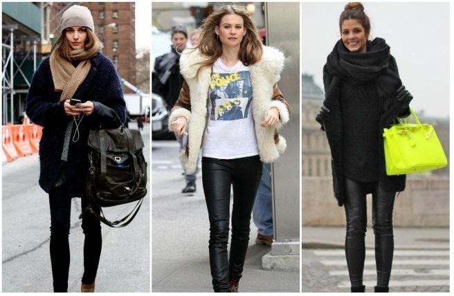 С чем носить кожаные леггинсы зимой?