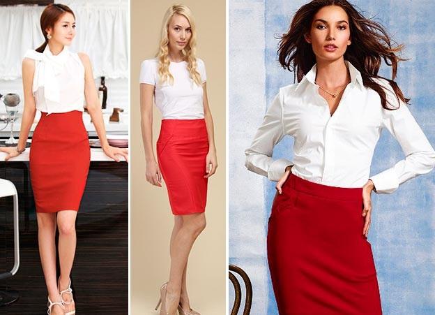 C чем носить красную юбку?