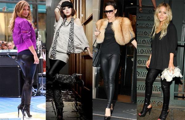 С чем носить кожаные леггинсы?