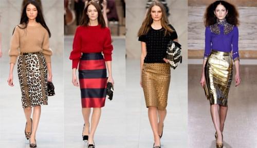 Блестящая юбка-карандаш и что с нею носить