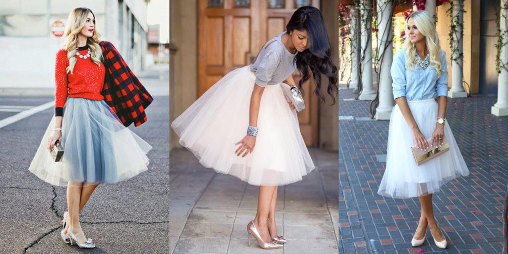 Белая фатиновая юбка