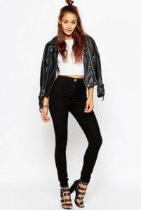Чёрные зауженные джинсы (модель скинни)