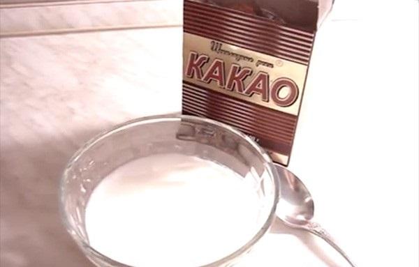 Маска с какао, кефиром и маслом
