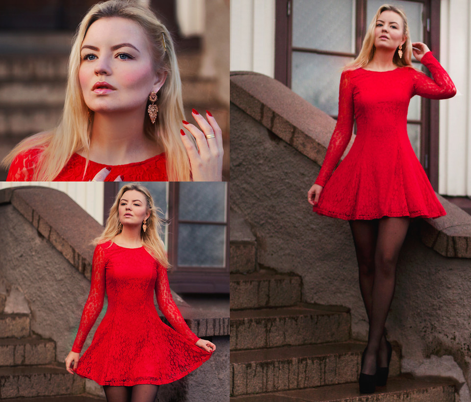 59967fc409d Красное платье  с чем носить