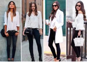 Вещи белого цвета и чёрные джинсы