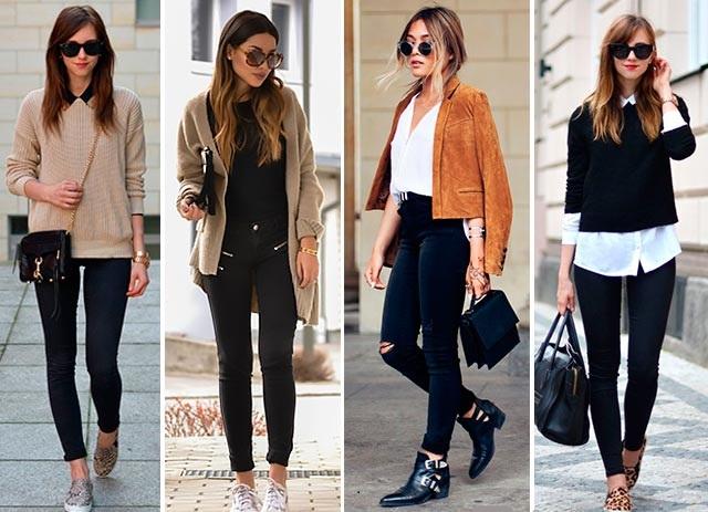 Чёрные джинсы с яркими цветами