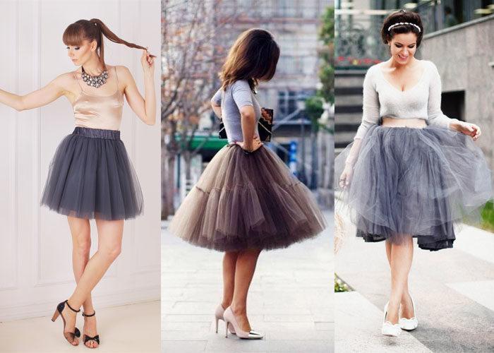 Фатиновая юбка, с чем её носить.