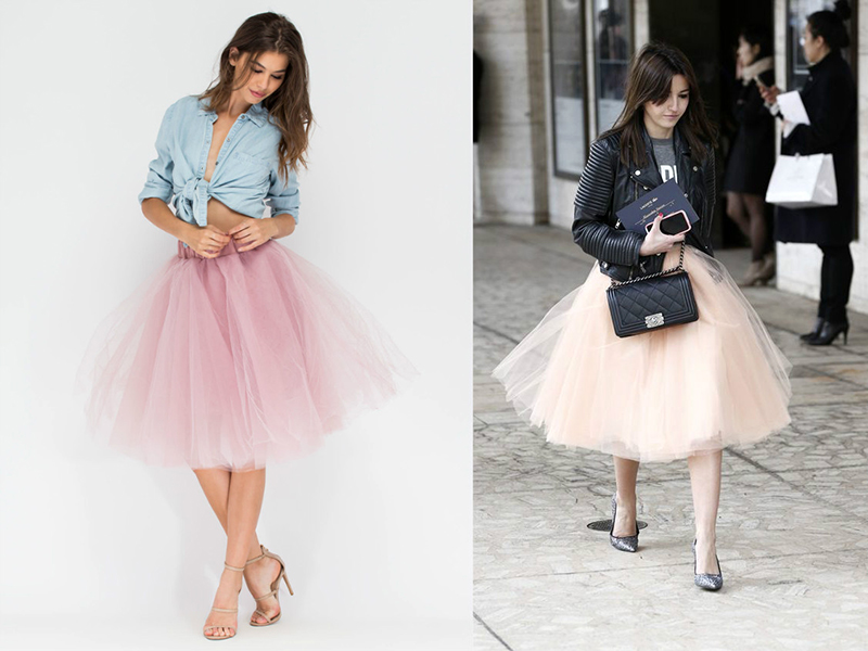 Фатиновая юбка в пастельном оттенке