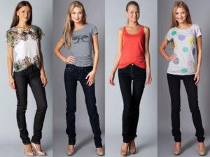 Комбинирование верха с принтом и чёрных джинсов