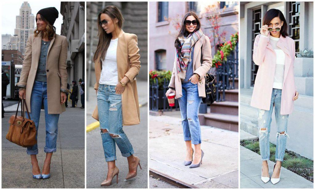 Красивая комбинация — джинсы бойфренды и пальто