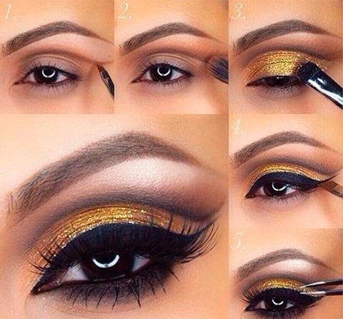 Макияж вечерний для карих глаз: пошаговое фото макияжа «Золотое свечение»