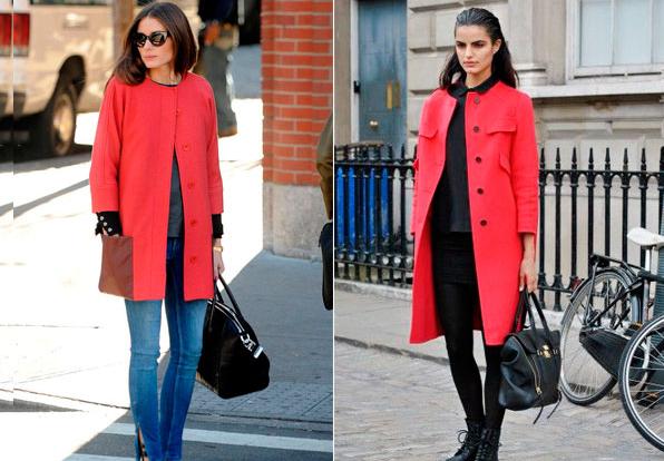 С чем носить красное пальто без воротника