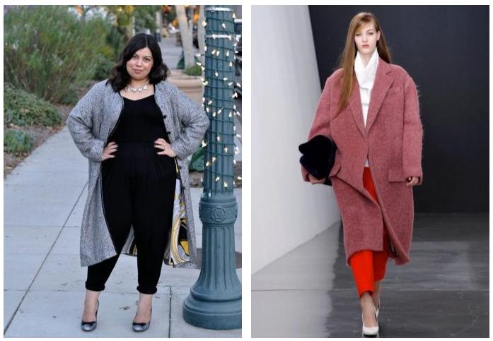 Как носить пальто оверсайз полным?