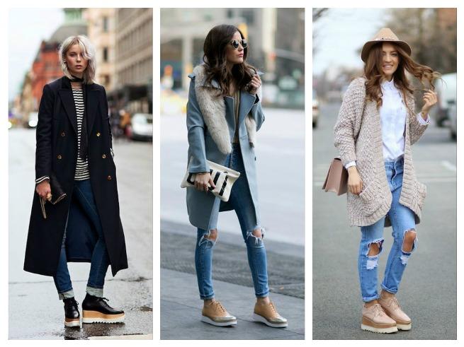 С чем носить ботинки женские на платформе?