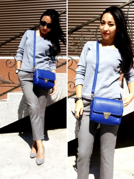 Синяя сумка: с чем носить, фото успешных образов