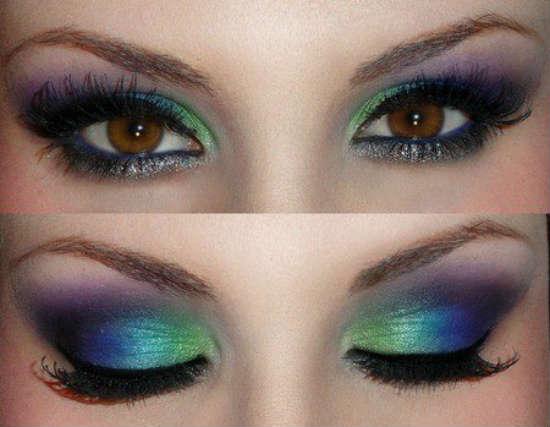 Вечерний макияж для карих глаз в зелёных оттенках
