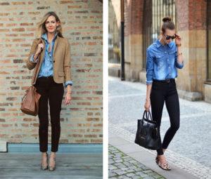 Рубашка из джинсовой ткани синего цвета и чёрные джинсы