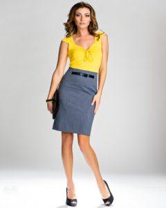 Серая юбка: с чем носить, фото образов с вещами жёлтого цвета