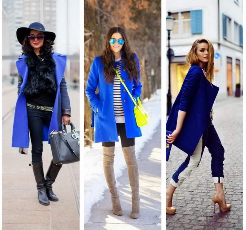 С чем носить синее пальто фото
