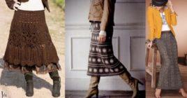Вязаные юбки средней длины