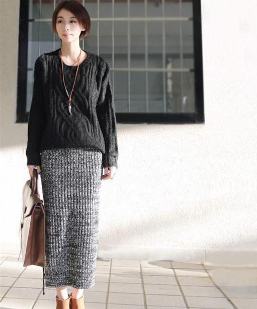 Длинные вязаные юбки