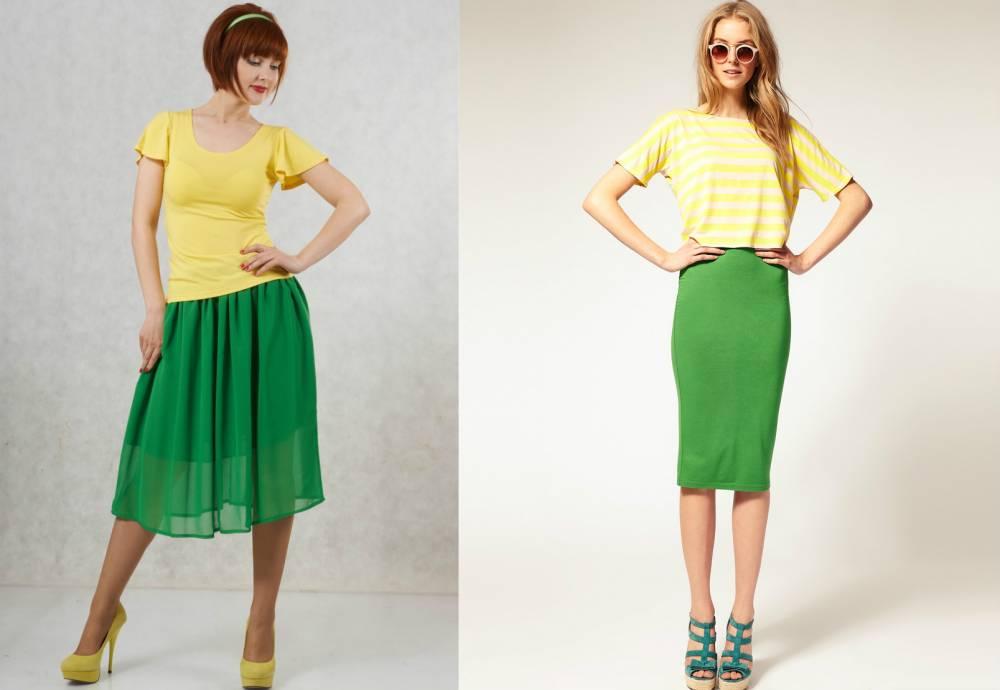С чем носить зелёную юбку?