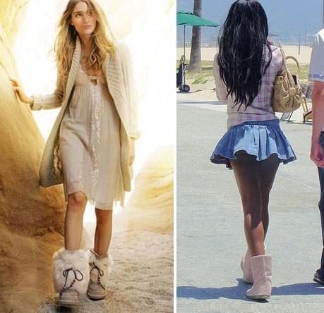 Угги с платьями и юбками