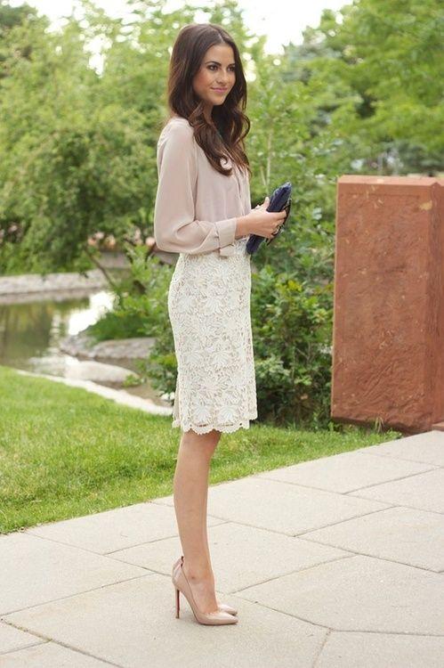 Белая юбка с кружевом