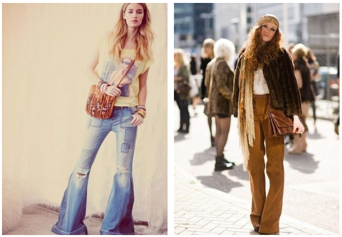 С чем носить джинсы клеш
