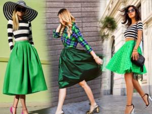 Какую форму зелёной юбки подобрать?