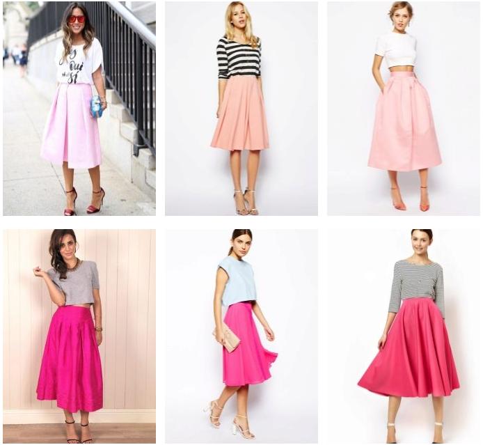 Розовые юбки средней длины