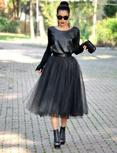 Чёрная юбка из фатина