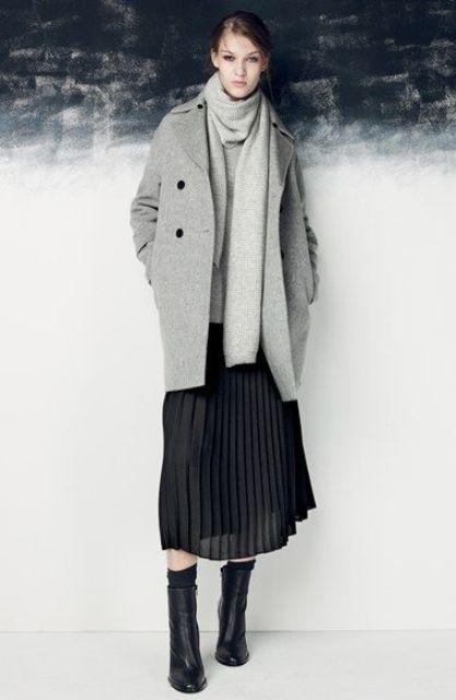 Комплекты с серым пальто