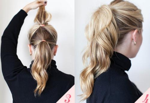 Хвостик с удлинением на средних волосах