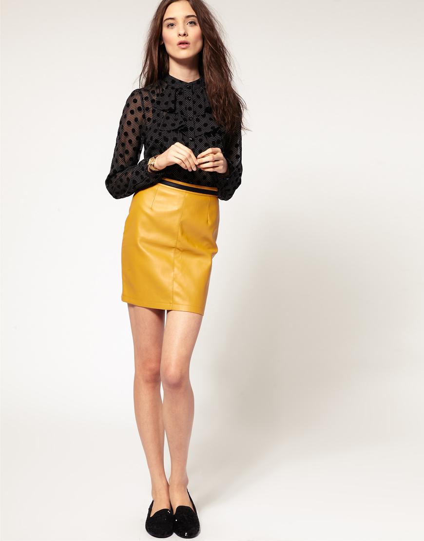 Жёлтая юбка-карандаш