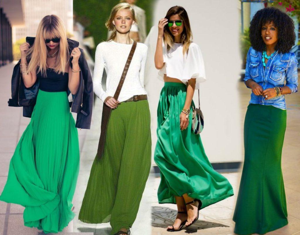 С чем носить длинную зелёную юбку? Все цвета длинных юбок