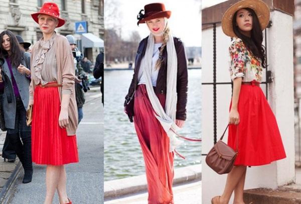Что одеть к красной юбке
