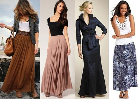 С чем носить длинную юбку на поясе