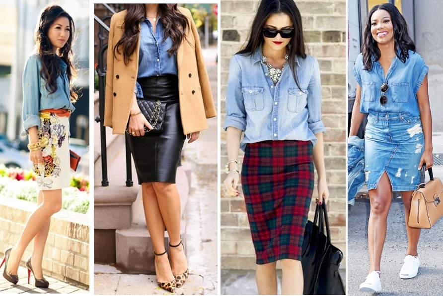 Удачные образы с джинсовой рубашкой