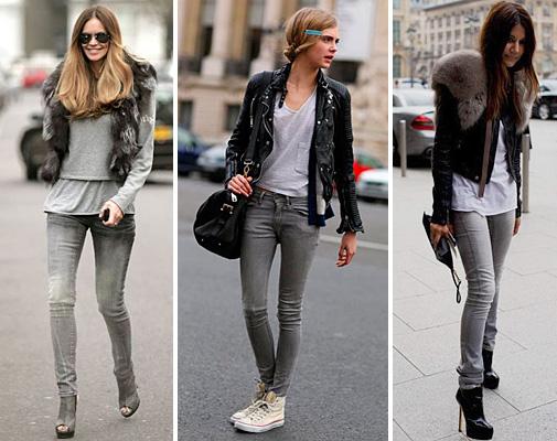 C чем же носить серые джинсы?