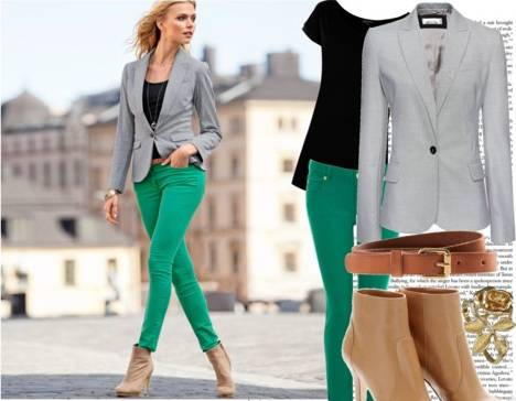 Как правильно сочетать зелёные брюки?