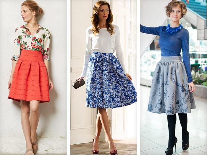 С чем носить летом юбку полусолнце